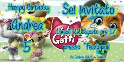 Inviti digitali personalizzati 44 Gatti per feste di compleanno da mandare via Whatsapp