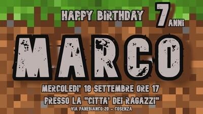 Inviti digitali personalizzati Minecraft per feste di compleanno da mandare via Whatsapp