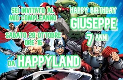 Inviti digitali personalizzati Avengers per feste di compleanno da mandare via Whatsapp