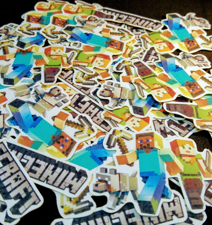 72 Adesivi Stickers Minecraft sagomati personalizzabili con nome e età decorazione festa compleanno bambini