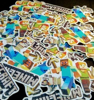 36 Adesivi Stickers personalizzati Minecraft festa a tema compleanno bambini