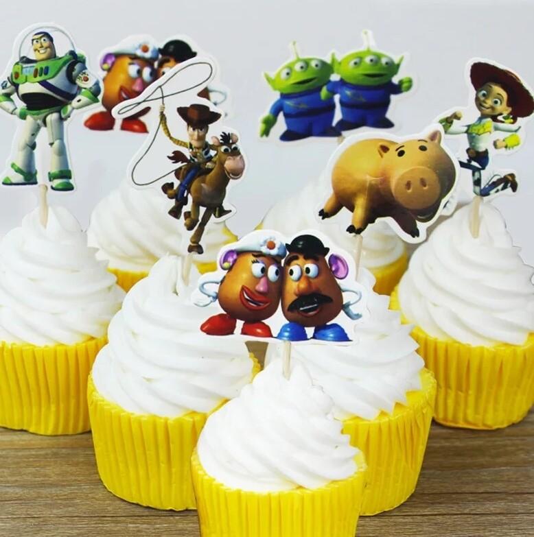 24 bandierine Toy story decorazioni torte topper Plum cake statuine Tortini
