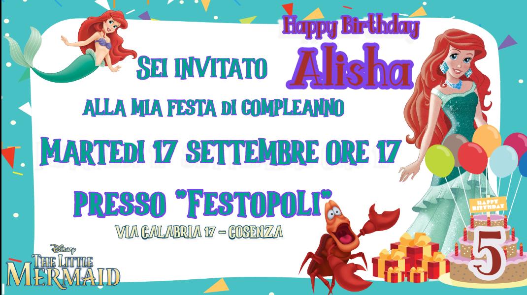 10 biglietti nviti personalizzati Ariel per feste di compleanno da mandare via Whatsapp