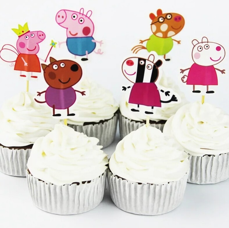 24 bandierine Peppa Pig decorazioni torte topper Plum cake statuine Tortini