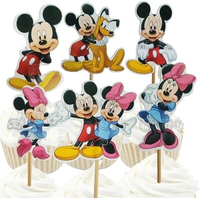 24 bandierine Topolino Minnie Disney decorazioni torte topper Plum cake statuine Tortini