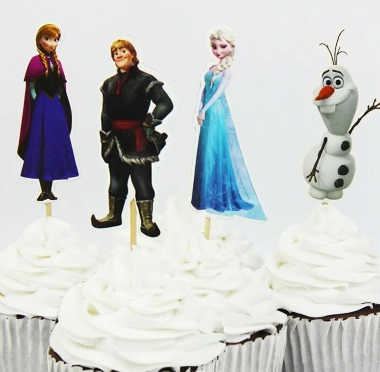 24 bandierine Principesse Anna Elsa Frozen Disney decorazioni torte topper Plum cake statuine Tortini