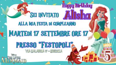 10 Biglietti inviti personalizzati Ariel Sirenetta festa compleanno bambini a tema