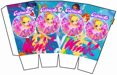 File digitale Scatolina Pop Corn Winx box contenitore personalizzabile addobbi festa a tema fai da te