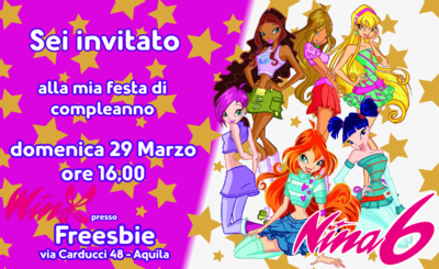 Biglietto invito digitale personalizzati Winx festa compleanno bambini a tema