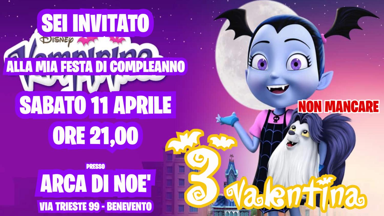 Inviti digitali personalizzati Vampirina per feste di compleanno da mandare via Whatsapp