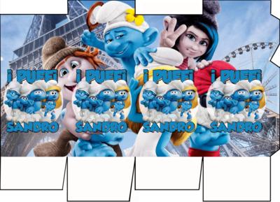 File digitale Scatolina Latte Puffi box contenitore personalizzabile addobbi festa a tema fai da te