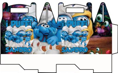 File digitale Scatoline Puffi personalizzabili Regalo porta Gadgets confetti Caramelle bomboniere