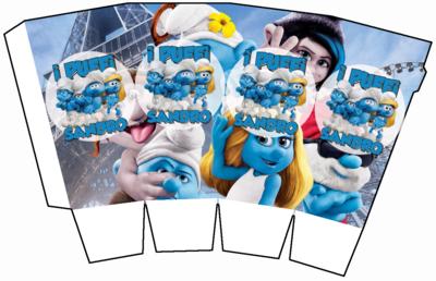 File digitale Scatolina Pop Corn Puffi box contenitore personalizzabile addobbi festa a tema fai da te