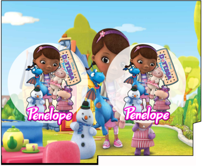 File Digitale Porta Tovaglioli e Posate personalizzati Dottoressa Peluche addobbi feste di compleanno