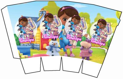 File digitale Scatolina Pop Corn Dottoressa Peluche box contenitore personalizzabile addobbi festa a tema fai da te