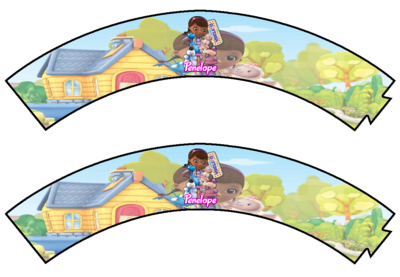 File digitale Wrapper Cupcake Dottoressa Peluche personalizzabile addobbi festa a tema fai da te