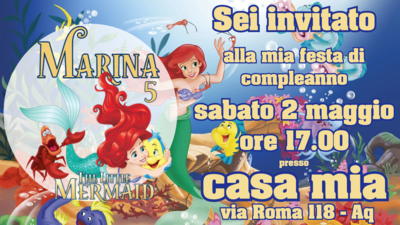 10 biglietti inviti personalizzati Ariel per feste di compleanno da mandare via Whatsapp