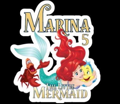 72 Adesivi Stickers Ariel Sirenetta sagomati personalizzabili decorare festa a tema compleanno bambini
