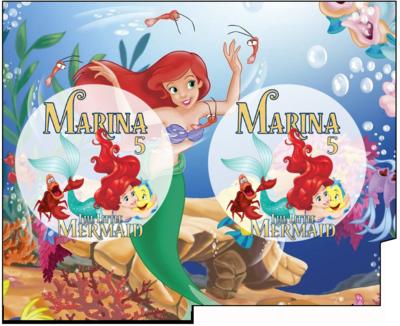 File Digitale Porta Tovaglioli e Posate personalizzati Ariel Sirenetta addobbi feste di compleanno