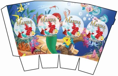 File digitale Scatolina Pop Corn Ariel Sirenetta box contenitore personalizzabile addobbi festa a tema fai da te