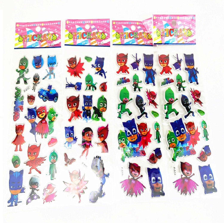 30 fogli stickers Adesivi a tema PJ Masks Super Pigiamini