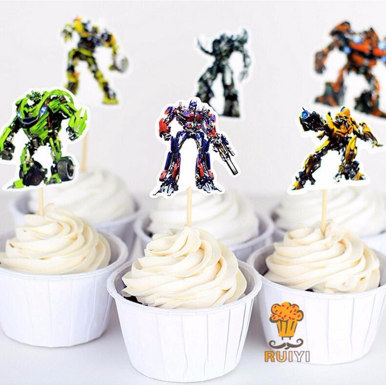 24 decorazioni torte Transformers topper cake