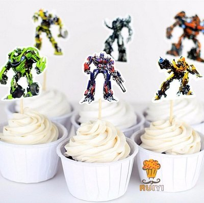 24 decorazioni torte Transformers topper cake