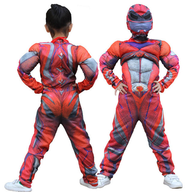 Power Rangers costume imbottito con muscoli + maschera cappuccio carnevale travestimento cosplay bambini misura taglia età 7 8 9 10 11 12 anni.
