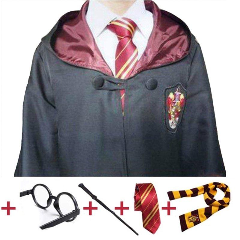 Harry Potter costume mantella + cravatta sciarpa + occhiali + bacchetta magica maschera carnevale travestimento cosplay bambini misura taglia età 7 8 9 10 11 12 13 anni.