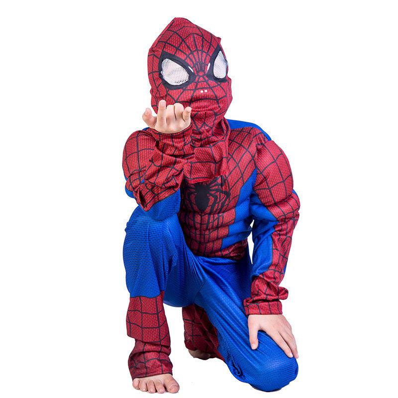 Spiderman Costume con muscoli maschera carnevale travestimento cosplay
