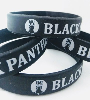 10 braccialetti in silicone personalizzati Black Panther