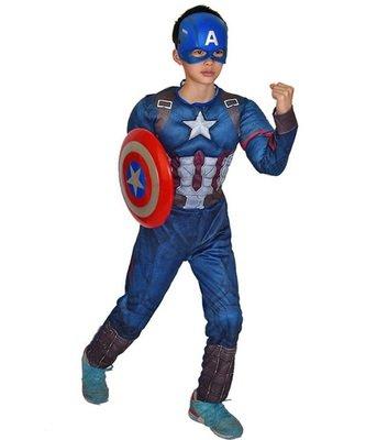 Costume Capitan America con Muscoli Maschera Carnevale travestimento