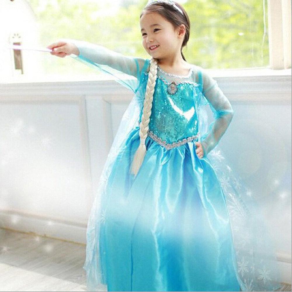 d61265a937 costume Principessa Elsa Frozen vestito + accessori maschera carnevale  bambina