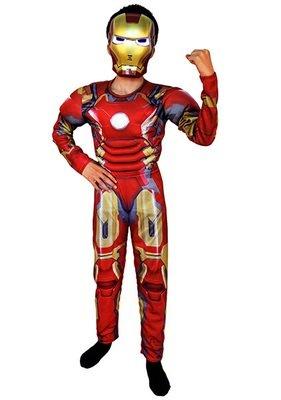Ironman Costume con muscoli maschera carnevale travestimento cosplay