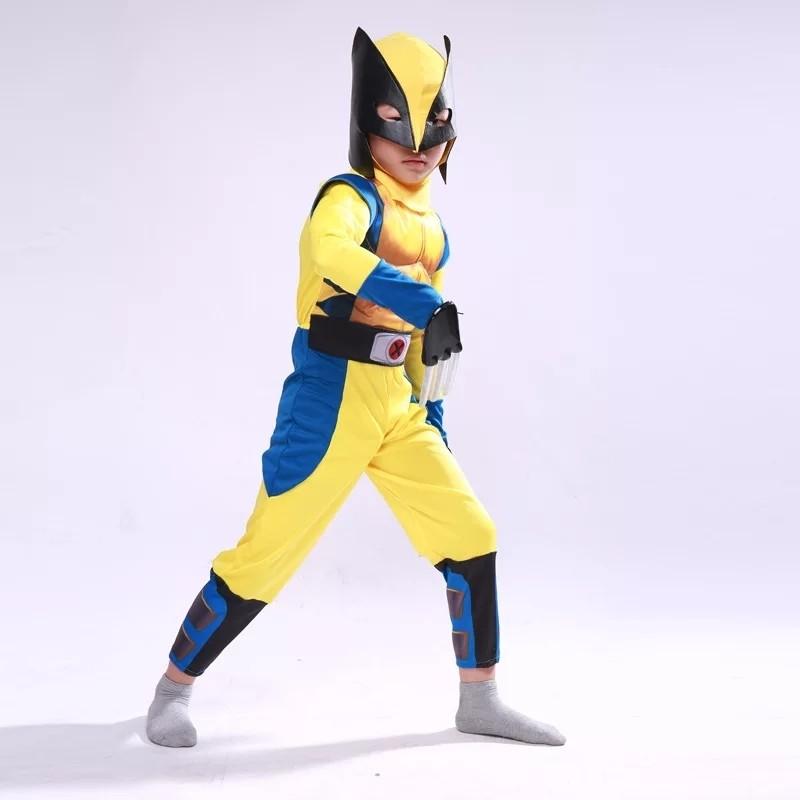 Xmen Wolverine Costume con Muscoli maschera carnevale travestimento bambini