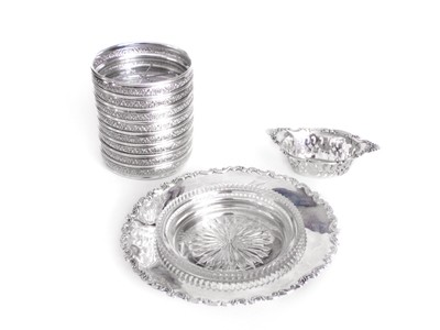 10 pcs Birks Sterling 8 Coasters Open Dish Nut Dish and Cut Crystal