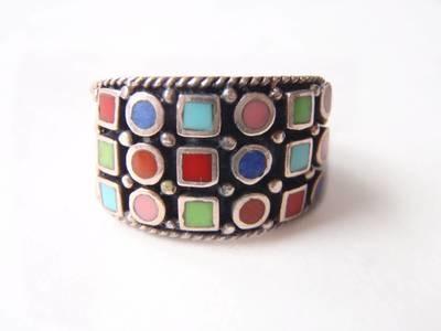 1960 Silver Enamel Wide Band Multi Color Enamel Boxes Circles Ring