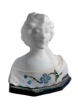 Art Nouveau Marble Lady Sculpture Bust Micro Mosaic Inlay