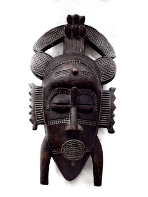 Vintage Senufo Face Mask Ivory Coast Tribal Ethnic Wall Art