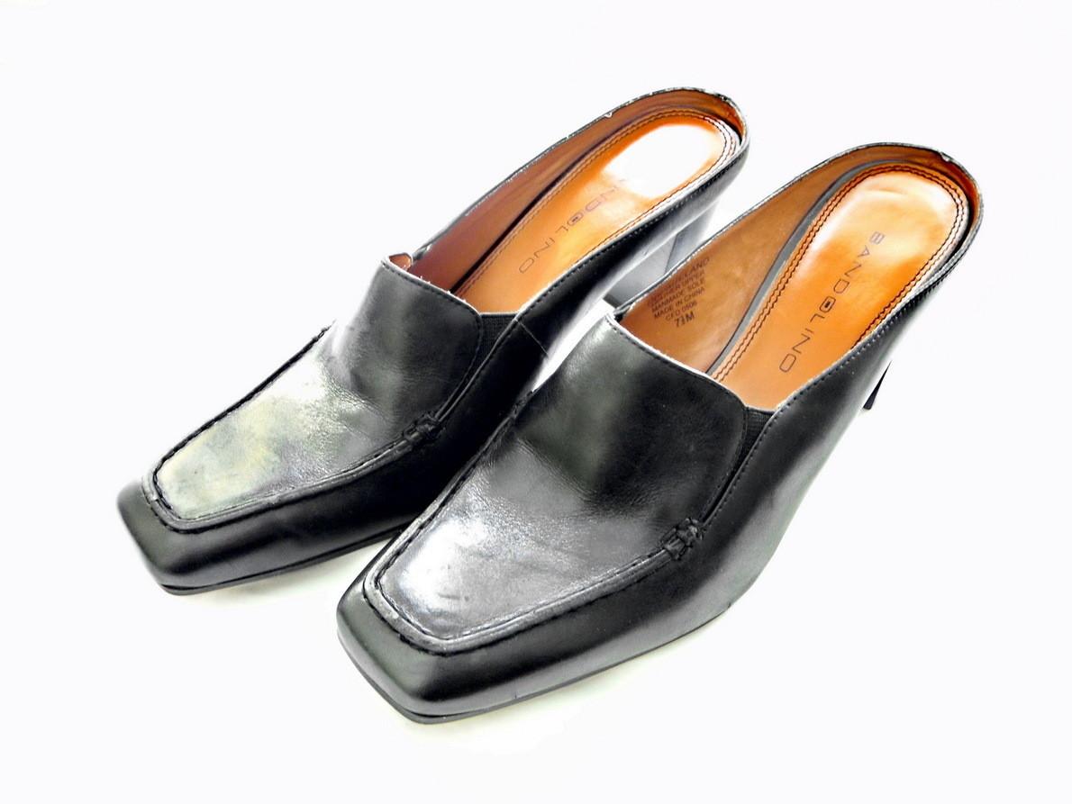 Bandolino Black Leather Slip On Mules, Shoes, Size 7.5 M US