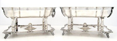 Silver Plated Pair Large Heated Open Buffet Chaffing Dish Servers w/ Heating Elements