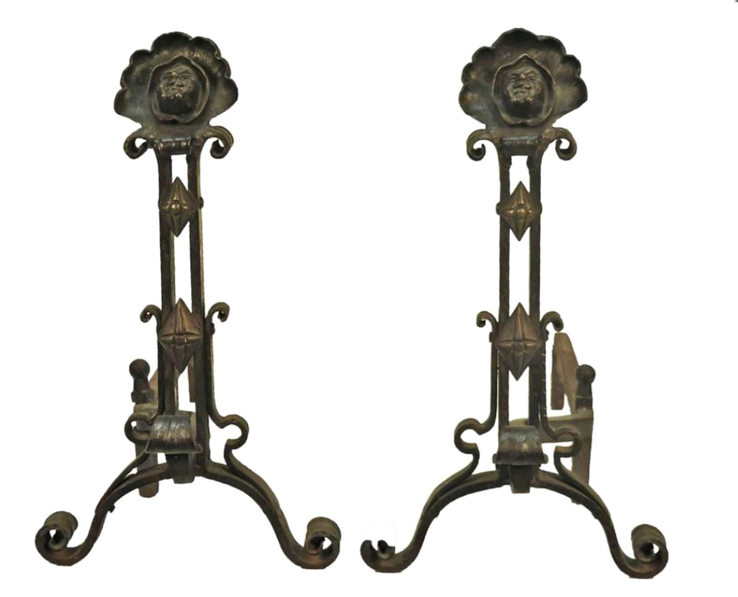 Antique Arts and Crafts Bronze Forged Iron Monk Face Andirons - American Gothic Fireplace Insert