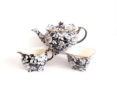 RARE 4 pc Royal Winton Grimwades Black White Peony Chintz Tea Set