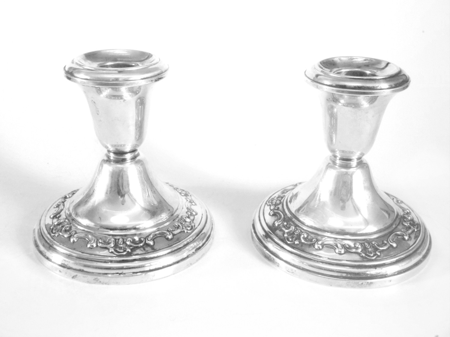 2 Gorham Sterling Silver Candle Holders with Floral Swag Details