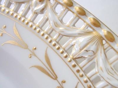 8 KPM Porcelain Luncheon Dessert Plates Gold Gilt Pierced Borders