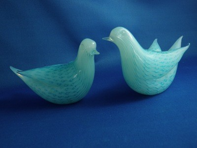 Pair 2 Vintage Blue Stretched Murano Glass Love Birds