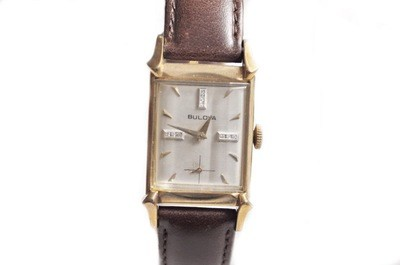 1954 Diamond Dial Bulova Watch Silver Dial Flared Lugs