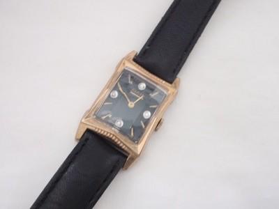 1940s Elgin Dress Watch Green Dial Diamond Hour Fancy Lugs