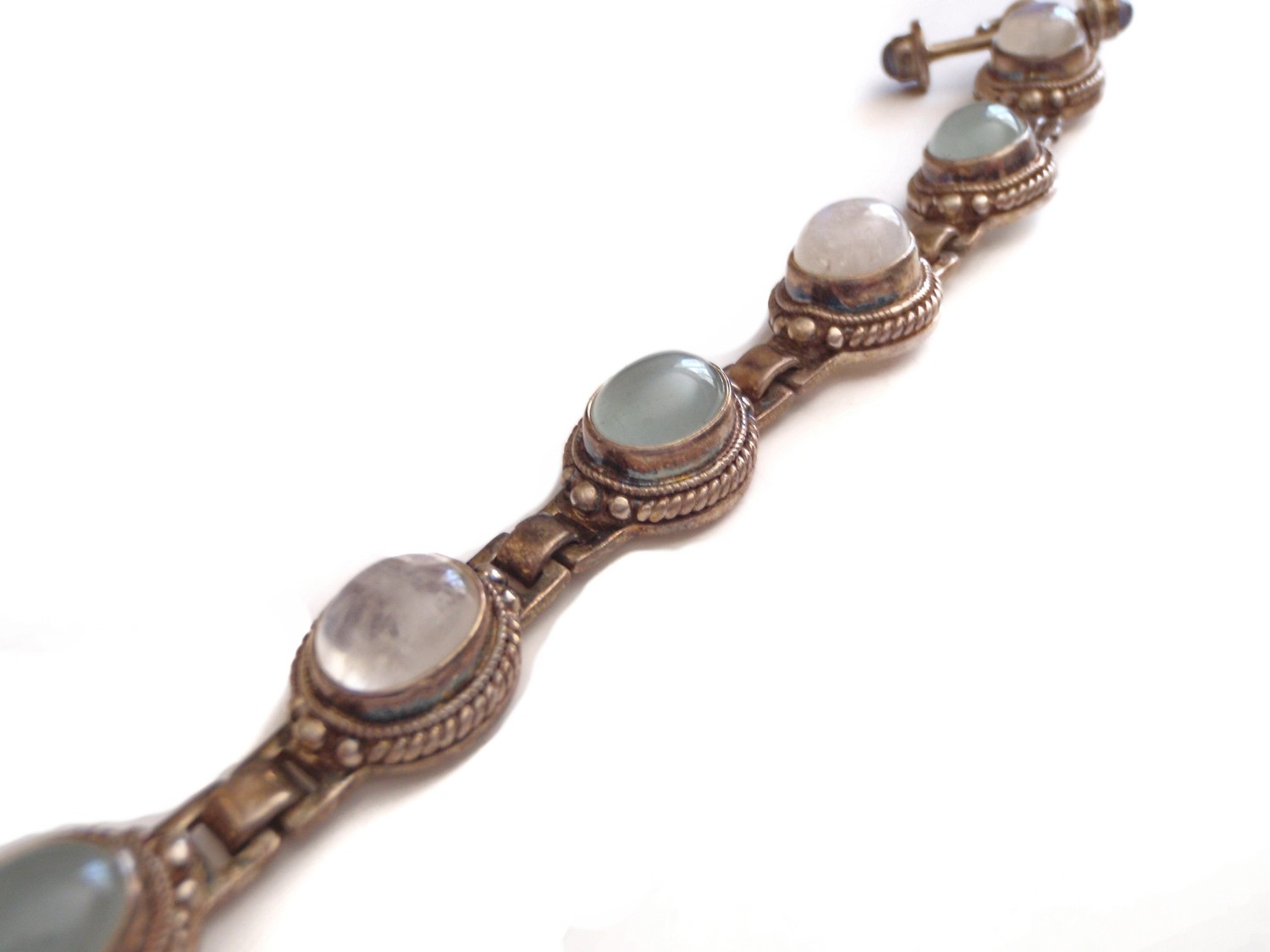 Vintage Chalcedony and Moonstone Silver Hinged Link Bracelet