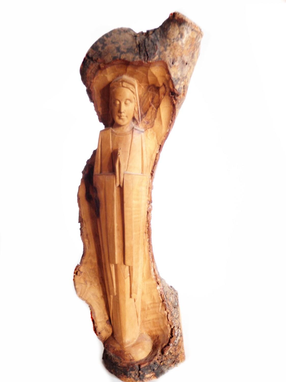 Religious Icon Folk Art Hand Carved Wood Santo Iconography Art -